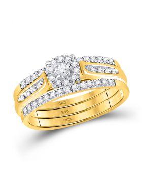 14kt Yellow Gold Womens Round Diamond 3-Piece Bridal Wedding Engagement Ring Band Set 1/4 Cttw