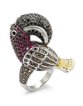 LO1592-10 - Brass Rhodium+Gold+ Ruthenium Ring AAA Grade CZ Multi Color