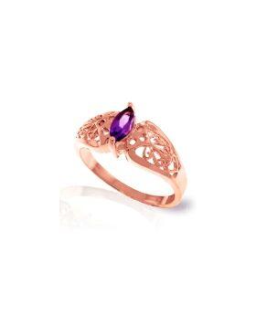 0.2 Carat 14K Rose Gold Filigree Ring Natural Amethyst