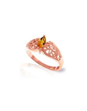 0.2 Carat 14K Rose Gold Filigree Ring Natural Citrine