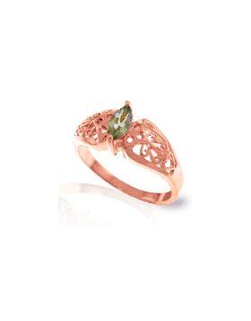 0.2 Carat 14K Rose Gold Filigree Ring Green Amethyst