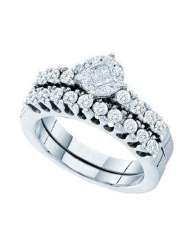 14kt White Gold Womens Princess Round Diamond Soleil Bridal Wedding Engagement Ring Band Set 7/8 Cttw