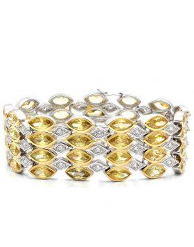 Bracelet,Brass,Gold+Rhodium,AAA Grade CZ,Topaz