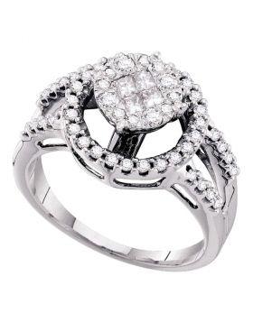 14kt White Gold Womens Princess Round Diamond Soleil Cluster Bridal Wedding Engagement Ring 5/8 Cttw