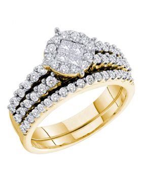 14kt Yellow Gold Womens Princess Round Diamond Soleil Bridal Wedding Engagement Ring Band Set 1.00 Cttw