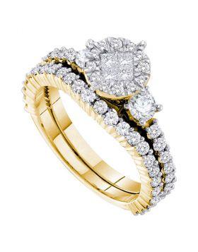 14kt Yellow Gold Womens Princess Round Diamond Soleil Bridal Wedding Engagement Ring Band Set 1-3/8 Cttw