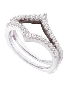 14kt White Gold Womens Round Diamond Ring Guard Wrap Enhancer Wedding Band 1/2 Cttw