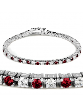 Bracelet Brass Rhodium Synthetic Ruby Garnet