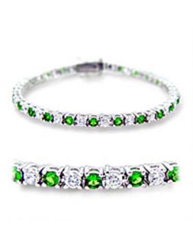 Bracelet Brass Rhodium Synthetic Emerald Spinel Round