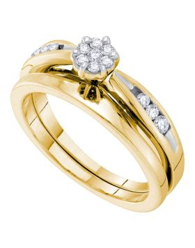 14k Yellow Gold Womens Round Diamond Cluster Bridal Wedding Engagement Ring Band Set 1/4 Cttw