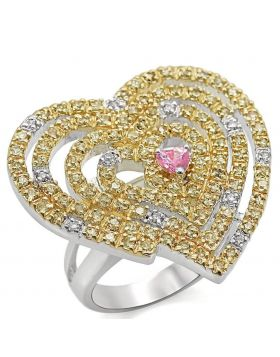 LO1337-6 - Brass Reverse Two-Tone Ring AAA Grade CZ Rose