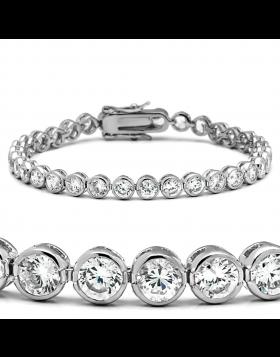 Bracelet Brass Rhodium AAA Grade CZ Clear