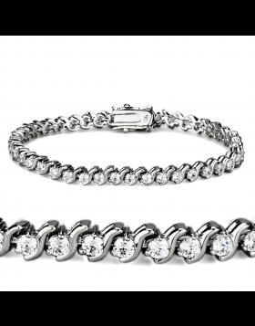 Bracelet Brass Rhodium AAA Grade CZ Clear Round
