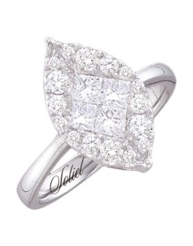 14kt White Gold Womens Princess Round Diamond Soleil Marquise-shape Cluster Bridal Wedding Engagement Ring 1/2 Cttw