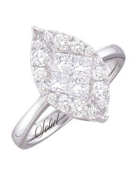 14kt White Gold Womens Princess Diamond Soleil Cluster Bridal Wedding Engagement Ring 1/4 Cttw