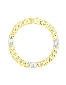 14k Two-Tone Gold Bracelet with Curb Design Chain