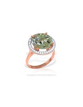 5.2 Carat 14K Rose Gold Ring Natural Diamond Green Amethyst