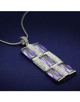 TS026-16 - 925 Sterling Silver Rhodium Chain Pendant AAA Grade CZ Amethyst