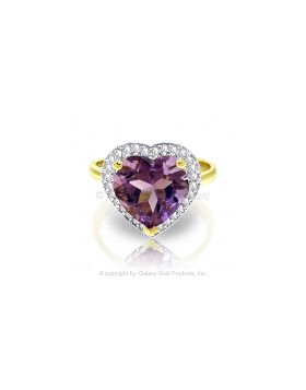 3.24 Carat 14K Gold Ring Diamond Heart Amethyst