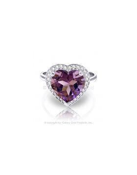 3.24 Carat 14K White Gold Ring Diamond Heart Amethyst