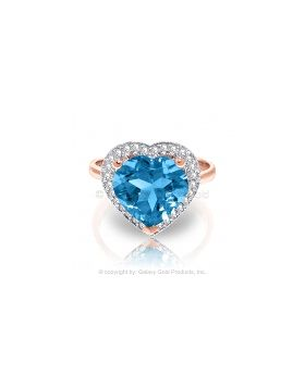 6.44 Carat 14K Rose Gold Ring Diamond Heart Blue Topaz