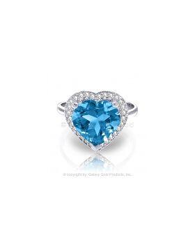 6.44 Carat 14K White Gold Ring Diamond Heart Blue Topaz