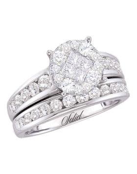 14kt White Gold Womens Princess Round Diamond Soleil Bridal Wedding Engagement Ring Band Set 1.00 Cttw