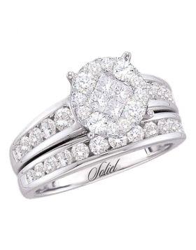 14kt White Gold Womens Diamond Soleil Cluster Bridal Wedding Engagement Ring Band Set 1/2 Cttw