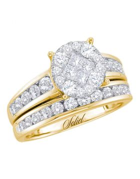 14kt Yellow Gold Womens Diamond Cluster Soleil Bridal Wedding Engagement Ring Band Set 1-3/8 Cttw