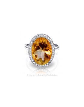 5.28 Carat 14K White Gold Resplendent Citrine Diamond Ring