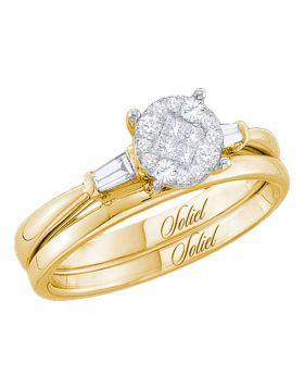 14kt Yellow Gold Womens Princess Diamond Soleil Bridal Wedding Engagement Ring Band Set 1/4 Cttw