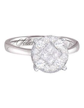 14kt White Gold Womens Princess Diamond Soleil Bridal Wedding Engagement Ring 1/2 Cttw