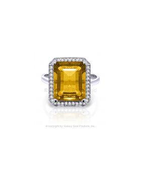 5.8 Carat 14K White Gold Subject Matter Citrine Diamond Ring