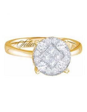 14kt Yellow Gold Womens Princess Round Diamond Soleil Cluster Bridal Wedding Engagement Ring 2.00 Cttw