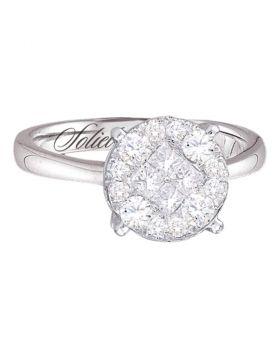 14kt White Gold Womens Princess Round Diamond Soleil Cluster Bridal Wedding Engagement Ring 2.00 Cttw