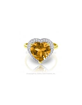 3.24 Carat 14K Gold Ring Diamond Heart Citrine