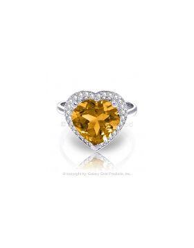3.24 Carat 14K White Gold Ring Diamond Heart Citrine