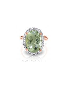 5.28 Carat 14K Rose Gold Loren Green Amethyst Diamond Ring