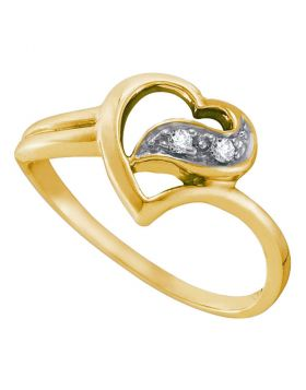 10kt Yellow Gold Womens Round Diamond Simple Heart Ring 1/20 Cttw