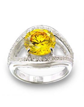 Ring 925 Sterling Silver High-Polished AAA Grade CZ Topaz Round