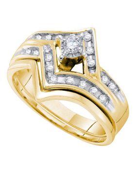 10kt Yellow Gold Womens Round Diamond Chevron Bridal Wedding Engagement Ring Band Set 1/4 Cttw