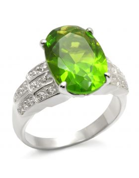 Ring 925 Sterling Silver High-Polished Synthetic Peridot Spinel