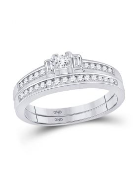 14kt White Gold Womens Princess Diamond 3-Stone Bridal Wedding Engagement Ring Band Set 1/2 Cttw