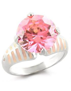 Ring 925 Sterling Silver High-Polished AAA Grade CZ Rose Round