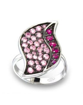 Ring 925 Sterling Silver Rhodium + Ruthenium AAA Grade CZ Multi Color