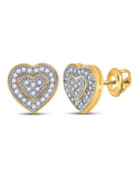 10kt Yellow Gold Womens Round Diamond Heart Cluster Earrings 1/6 Cttw