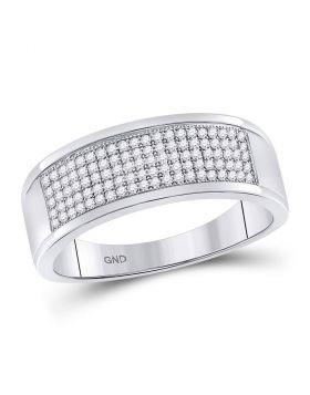 10k White Gold Unisex Round Diamond Micropave Wedding Anniversary Band Ring 1/3 Cttw