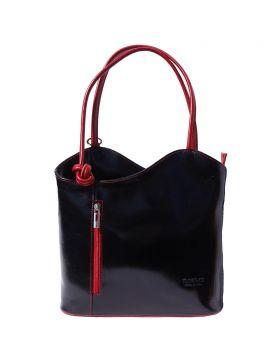 Cloe leather shoulder bag - Black/Red