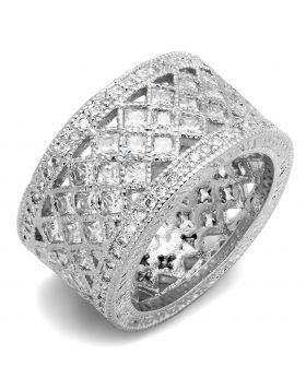 LO3350-9 - Brass Rhodium Ring AAA Grade CZ Clear