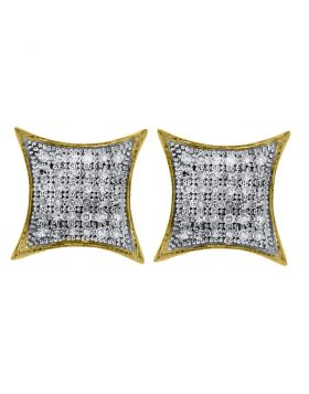 10kt Yellow Gold Womens Round Diamond Square Kite Cluster Earrings 1/4 Cttw